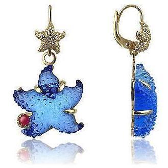 Tagliamonte Marina Collection Ohrringe mit blaüm Seestern mit Rubin & 18k Gold