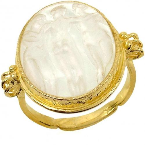 Tagliamonte Three Graces 18k Gold Ring mit Cameo aus Perlmutt in weiss