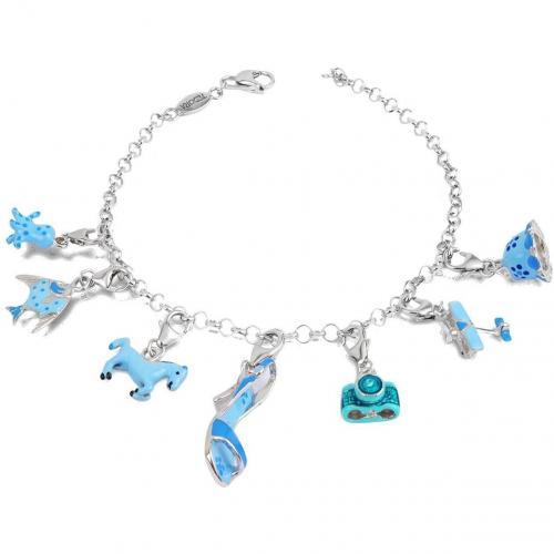 Tedora Clicla Celesta Armband aus Sterling Silber in blau