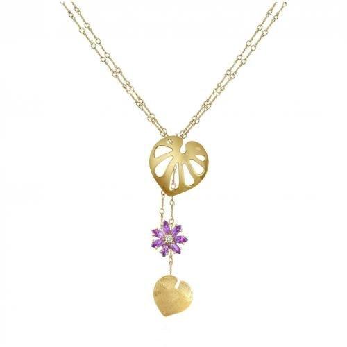 Torrini Pothos Halskette mit Blumenanhänger aus 18k Gold mit Diamanten & Edelsteinen