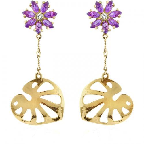 Torrini Pothos Ohrringe aus 18k Gold mit Blümchen aus Edelsteinen und Diamanten