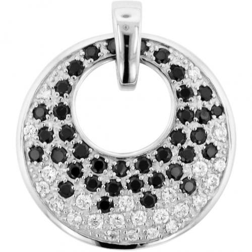 trendor Silber Anhänger mit schwarzen Steinen