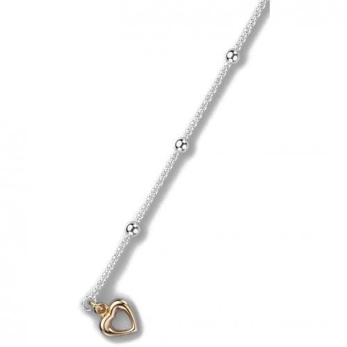 trendor Silber Fußkette mit goldenem Herz