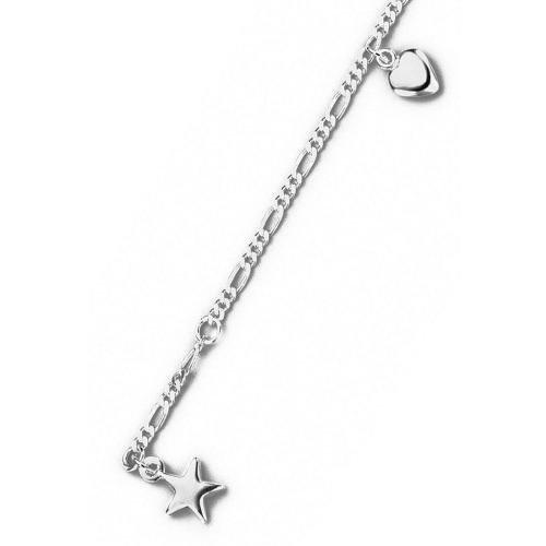 trendor Silber Fußkette mit Stern- und Herzanhänger
