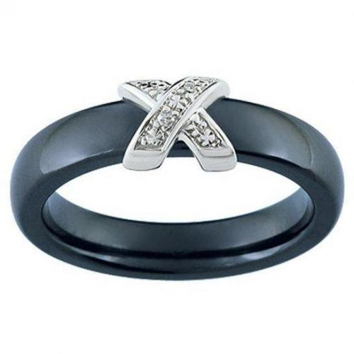 Ultimate Ceramic Damenring Diamanten schmal schwarz