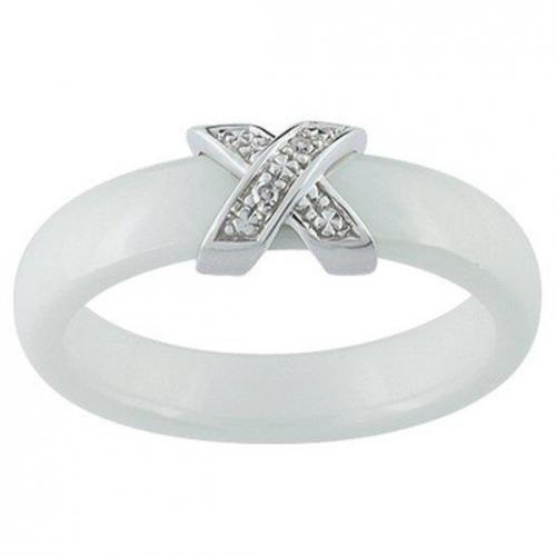 Ultimate Ceramic Damenring Diamanten schmal weiß