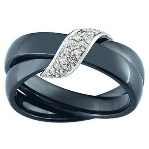 Ultimate Ceramic Damenring überwurf Diamanten schmal schwarz