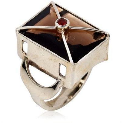 Zara Simon Disco Square Smoky Quartz Ring