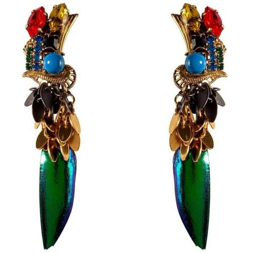 Gold-Plated Aquarela Do Brasil Earrings with Multicolored Crystals  von Erickson Beamon