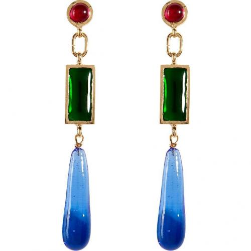 Gold-Plated Retro Earrings with Colored Glass Stones  von Gripoix