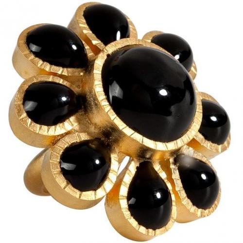 Gold-Plated Ring with Black Glass Stones  von Gripoix