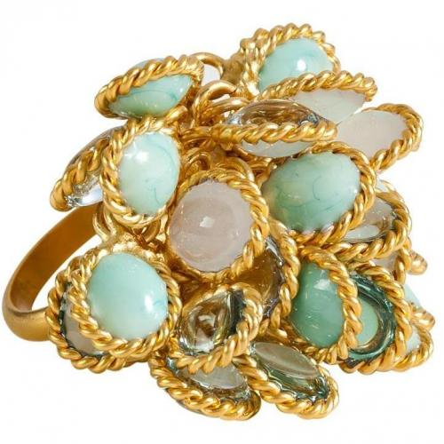 Gold-Plated Ring with Pastel Colored Glass Stones  von Gripoix