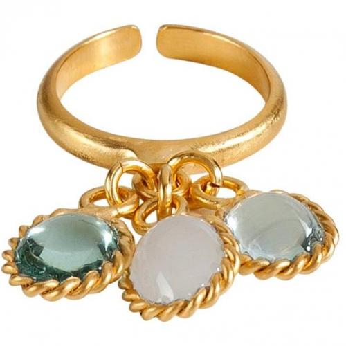 Gold-Plated Ring with Three Pastel Colored Glass Stones  von Gripoix